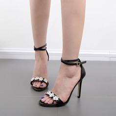 Femmes Similicuir Talon stiletto Sandales Escarpins À bout ouvert avec Fleur en satin Boucle chaussures