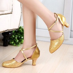 Vrouwen Sprankelende Glitter Patent Leather Hakken Pumps Ballroom met Enkelriempje Dansschoenen