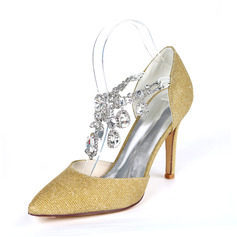 Women's Sparkling Glitter Stiletto Heel Pumps With Rhinestone