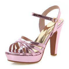 Women's Patent Leather Chunky Heel Sandals Pumps Platform Peep Toe With Hollow-out shoes