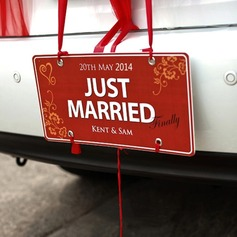 "Personalized ""Just Married"" Press Board Licence Plate (118064258)"