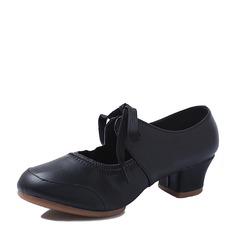 Femmes Cuir en microfibre Tennis Chaussures de Caractère avec Dentelle Chaussures de danse