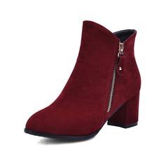 Femmes Suède Talon bottier Bottes avec Zip chaussures