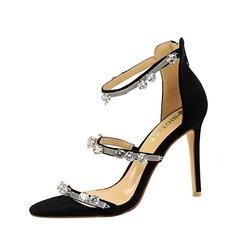 Kvinnor Mocka Stilettklack Sandaler Pumps Peep Toe med Strass Zipper skor
