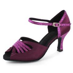 Femmes Satiné Pailletes scintillantes Talons Sandales Latin avec Lanière de cheville Chaussures de danse