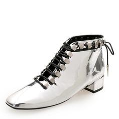 Vrouwen Patent Leather Chunky Heel Closed Toe Enkel Laarzen Martin Boots met Klinknagel Vastrijgen schoenen