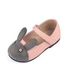 Girl's Leatherette Flat Heel Round Toe Flats With Velcro Animal Print
