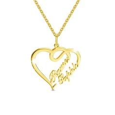 Spersonalizowany 18k pozłacane Dwa Imię Naszyjnik Naszyjnik w kształcie serca - Prezenty Na Walentynki