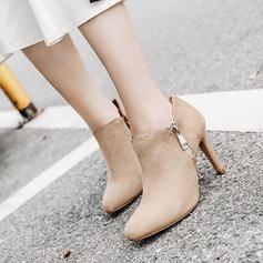 Naisten Mokkanahka Piikkikorko Avokkaat Kengät Nilkkurit jossa Vetoketju kengät