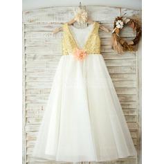 Forme Princesse Longueur ras du sol Robes à Fleurs pour Filles - Tulle/Pailleté Sans manches Col rond avec Fleur(s)/V retour
