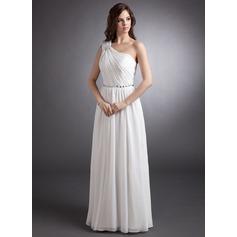 A-Linie/Princess-Linie One-Shoulder-Träger Bodenlang Chiffon Abendkleid mit Rüschen Perlen verziert