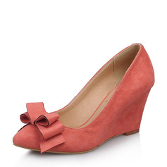 Women's Suede Wedge Heel Pumps Closed Toe Wedges With Bowknot shoes (116151007)