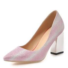 Frauen Kunstleder Stämmiger Absatz Absatzschuhe Geschlossene Zehe mit Pailletten Schuhe