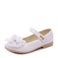 Fille de similicuir talon plat bout rond Chaussures plates avec Velcro Une fleur