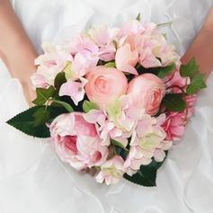 Bonito Redondo Seda artificiais Buquês de noiva/Buquês da nama de honra/Flores da Tabela do Casamento -