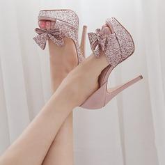 Women's Sparkling Glitter Stiletto Heel Peep Toe Platform Beach Wedding Shoes With Bowknot