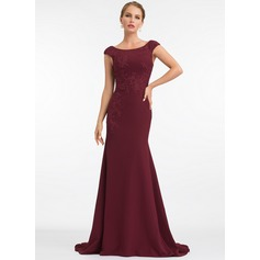 Trumpet/Mermaid Scoop Neck Sweep Train Stretch Crepe Evening Dress With Lace
