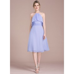 A-Line/Princess Halter Knee-Length Chiffon Homecoming Dress With Bow(s) Cascading Ruffles