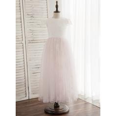Forme Princesse Longueur cheville Robes à Fleurs pour Filles - Tulle/Dentelle Sans manches Col rond