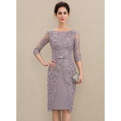 Etui-Linie U-Ausschnitt Knielang Satin Spitze Kleid für die Brautmutter mit Perlstickerei Schleife(n) (008179208)