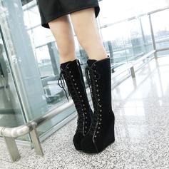 Kvinnor Mocka Kilklack Stövlar Knäkickkängor med Zipper Bandage skor