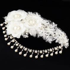 Elegante Pérolas de imitação/Renda A testa de jóias/Flores & penas