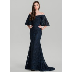 Trumpet/Mermaid Off-the-Shoulder Sweep Train Lace Evening Dress (017126587)
