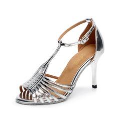 Mulheres Couro Saltos Sandálias Latino com Correia -T Sapatos de dança