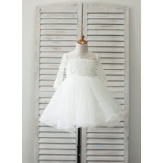 A-Line/Princess Knee-length Flower Girl Dress - Satin/Tulle Long Sleeves Scoop Neck With Lace/Beading