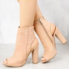 Frauen Veloursleder Stämmiger Absatz Sandalen Absatzschuhe Peep Toe Slingpumps mit Reißverschluss Schuhe