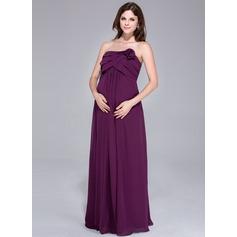 Império Sem Alças Longos Tecido de seda Vestido para madrinha grávida com fecho de correr Babados em cascata