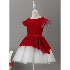 A-Line Knee-length Flower Girl Dress - Tulle/Velvet Short Sleeves Scoop Neck