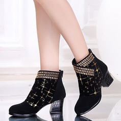 Women's Suede Boots Modern Salsa With Rhinestone Dance Shoes