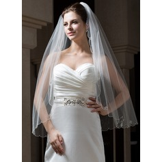 One-tier Fingertip Bridal Veils With Scalloped Edge