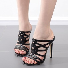 Women's Leatherette Stiletto Heel Sandals Pumps Peep Toe Slingbacks Slippers With Hollow-out shoes