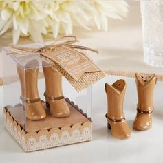 Estilo vendimia Zapatos Cerámico Sal y Pimienta Shakers