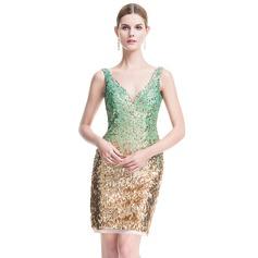 Sheath/Column V-neck Short/Mini Sequined Cocktail Dress