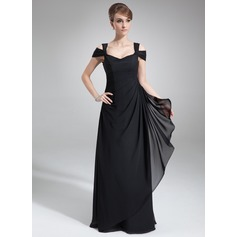 Sheath/Column Off-the-Shoulder Floor-Length Chiffon Evening Dress With Cascading Ruffles
