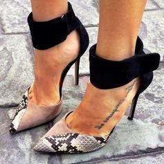 De mujer Ante Tacón stilettos Sandalias Salón Cerrados con Estampado de animales Cremallera zapatos
