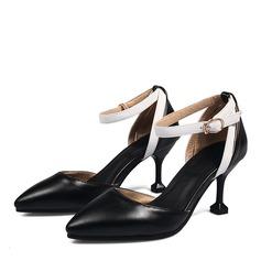 Mulheres Couro Salto carretel Sandálias Bombas Fechados com Fivela sapatos