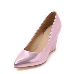 Vrouwen Patent Leather Wedge Heel Closed Toe Wedges met Anderen schoenen