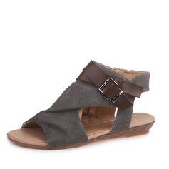Frauen Samt Flascher Absatz Sandalen Flache Schuhe Peep Toe Slingpumps mit Schnalle Reißverschluss Schuhe