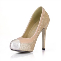 Leatherette Sparkling Glitter Stiletto Heel Pumps Platform Closed Toe shoes