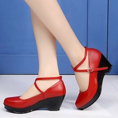 Vrouwen Echt leer Pumps Character Shoes met Enkelriempje Dansschoenen