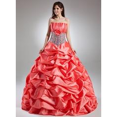 Ball-Gown Scalloped Neck Floor-Length Taffeta Quinceanera Dress With Ruffle Flower(s) Sequins