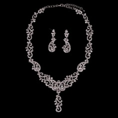 Lysande Legering Guldpläterad med Strass Oäkta Stenar Damer' Smycken Sets (Sats om 3)