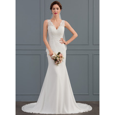 Trumpet/Mermaid V-neck Court Train Chiffon Wedding Dress (002127267)