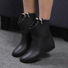 Kvinner PVC Lav Hæl Støvler Mid Leggen Støvler Gummistøvler med Flettet Stropp sko