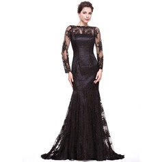 Trumpet/Mermaid Off-the-Shoulder Sweep Train Lace Evening Dress (017066941)
