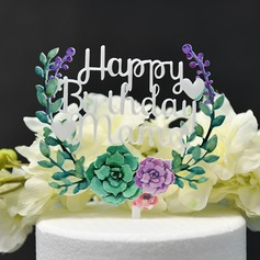 Flower/Happy Birthday Acrylic Cake Topper (Sold in a single piece)